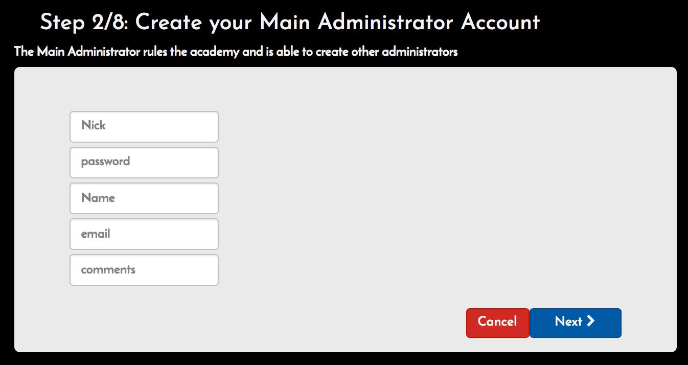 Create main admin screen